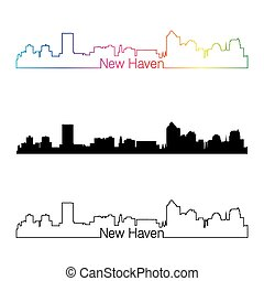 New Haven, CT skyline linear style with rainbow