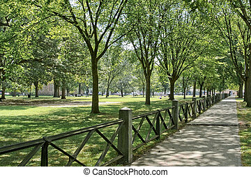 New Haven Green - A 16 acre park in New Haven, CT, used for...