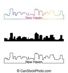 New Haven skyline linear style with rainbow