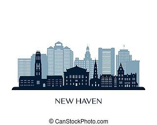 New Haven skyline, monochrome silhouette.