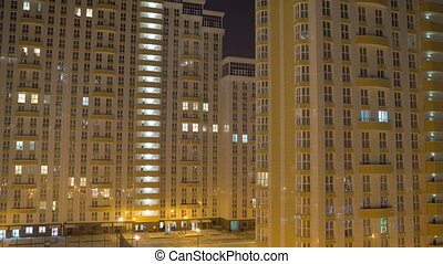 New high rise residential apartment building at night in Krasnodar, Russia