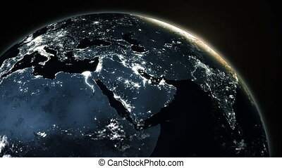 New highly detailed earth in space zone with night time sun world skyline. elements of this image furnished by NASA.