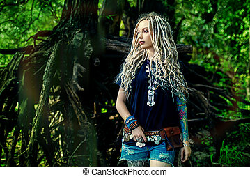 new hippie - Romantic boho style girl in the wild wood. Boho...