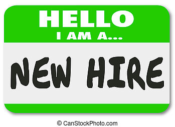 New Hire Nametag Sticker Green Employee Rookie Fresh Talent...