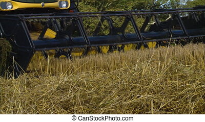 Close-up side-view low angle still shot of New Holland wheat combine harvester auger head rolling and harvesting wheat at a countryside wheat field, UK