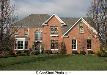 New Home Brick 2 - New two story brick home at Christmas...