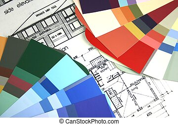 New home house plans with paint colour samples for selection