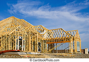 New home framing at a construction site