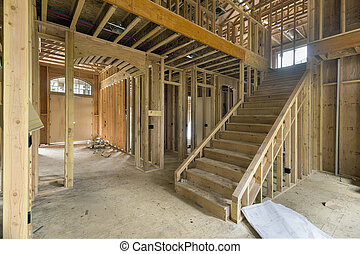 New Home Construction Framing Foyer Area - New Two-Storey ...