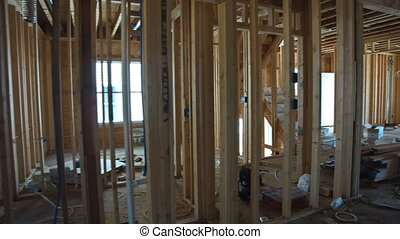 New home construction framing of a house under construction...