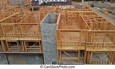 Framing of beams house on of new home under construction