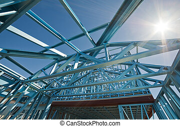 New home construction framing. - New residential...
