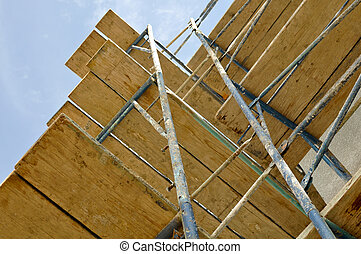 New Home Construction Scaffolding Close Up