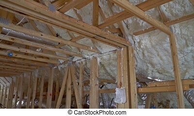 New home construction with installation of termal insulation...