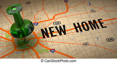 New Home - Green Pushpin on a Map Background.