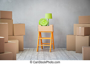 New Home Moving Day House Concept - New home, moving house...