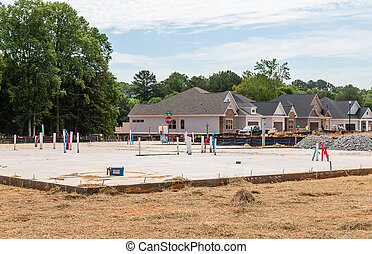 New Home Slab in Residential Lot