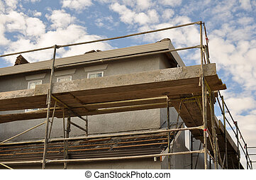 New Home Under Construction with Scaffolding