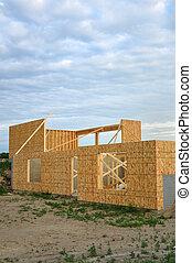 New house construction, framed walls of walk out basement