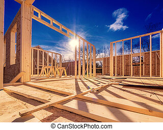 Framing construction of a new house with 2 x 4 studs