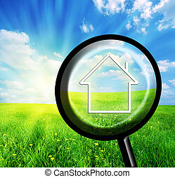 New house imagination in loupe. Conceptual image