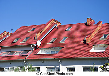 new house roof with windows