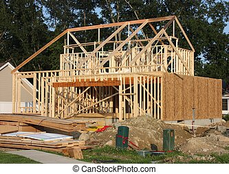 New house under construction in the suburbs.