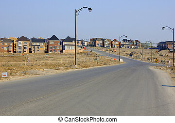 New houses and house's construction sites