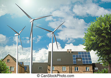 New houses with solar panels and wind generators