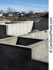 New Housing Development - The cement foundation of a new...
