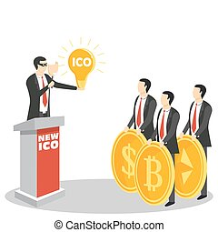 New ICO or initial coin offering concept vector illustration