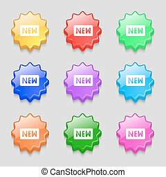 New icon sign. symbol on nine wavy colourful buttons. Vector