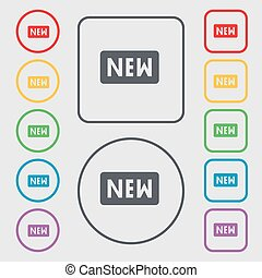 New icon sign. symbol on the Round and square buttons with frame. Vector
