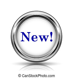 New icon - Shiny glossy icon - internet metallic button