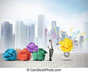 New idea - Businessman thinking about a new creative idea