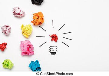 New Idea Concept. Colorful Crumpled Paper Balls