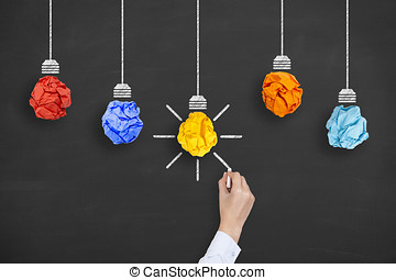 New Idea Concept Crumpled Paper Light Bulb on White Background