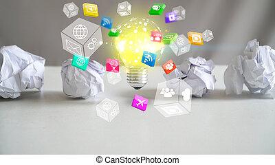 New idea concept, innovation and creativity