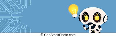 New Idea Concept Robot Hold Light Bulb Over Circuit Background With Copy Space