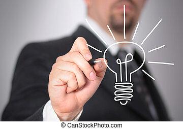 New ideas - Businessman sketching a light bulb on a glass