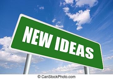 Illustration of new ideas roadsign