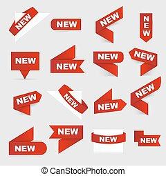 new., illustration., freigestellt, zeichen, vektor, neu , signs.