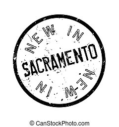 New In Sacramento rubber stamp. Grunge design with dust...