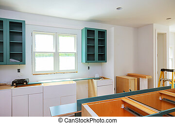 New installed wood kitchen cabinets with modern decorative stainles