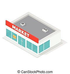 New isometric supermarket building