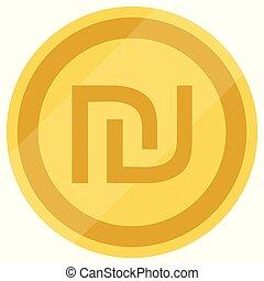 New Israeli Shekel currency symbol, ILS money icon, vector illustration. Golden coin