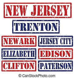New Jersey Cities stamps - Set of New Jersey cities stamps ...