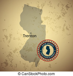 New Jersey map with stamp vintage vector background