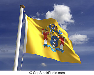 New Jersey Flag - New Jersey flag (with clipping path)