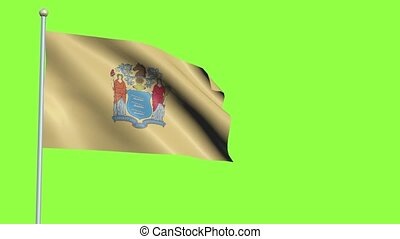 New Jersey Flag in 3D render with green screen background in Slow Motion